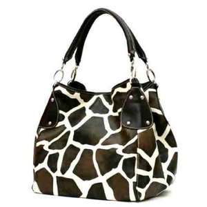 LG Brown Giraffe Print Convertable Purse Handbag Tote Bag Brown Trim