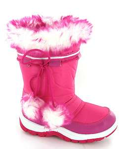 Girls Winter Warm Fur Lined Snow Ski Style Moon Fashion Velcro Boots