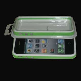 White Green Bumper Frame TPU Silicone Case Cover W/Side Button for
