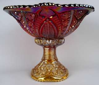 HEIRLOOM ~ INDIANA SUNSET CONTEMPORARY CARNIVAL GLASS PUNCH BOWL