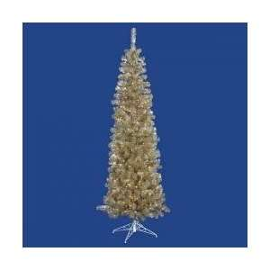 7.5 Pre Lit Champagne Artificial Pencil Tinsel Christmas