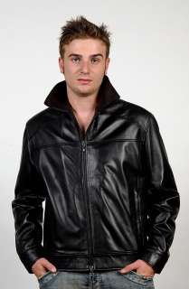 ITALIAN MEN LAMBSKIN FITTED SLIM FIT LEATHER JACKET BLACK SZ M