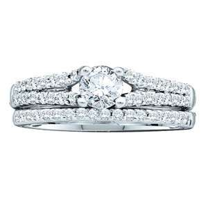 3/4 Carat Diamond 14k White Gold Bridal Ring Set
