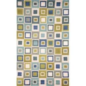 Indoor/Outdoor Hand Tufted Area Rug Big Squares 8 Square Ocean Carpet