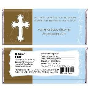 Little Miracle Boy Blue & Brown Cross   Personalized Candy Bar Wrapper