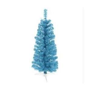 3 Pre Lit Sky Blue Artificial Pencil Tinsel Christmas