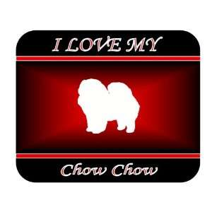 I Love My Chow Chow Dog Mouse Pad   Red Design