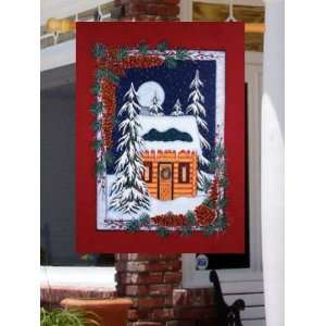 Snowy Wilderness Log Cabin Full Moon Night Large Flag