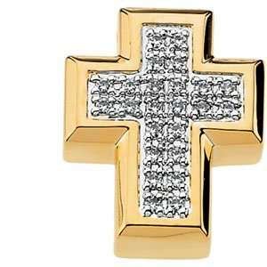 14K Yellow Gold Diamond Cross Pendant  Size/Info .23 Carat (Total