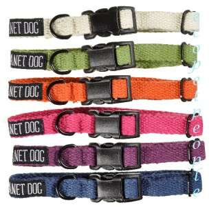 Planet Dog Hemp Buckle Collar Small Blue Pink, White
