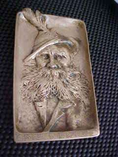 Austrian Berndorf Old Man Hat Der Wilderer Antique Bronze Tray ART
