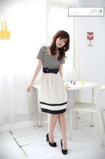 Womens Korean Japanese Fashion Style Stripe Dress One piece White