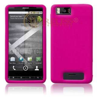 HOT PINK SILICONE SKIN CASE FOR MOTOROLA DROID X2