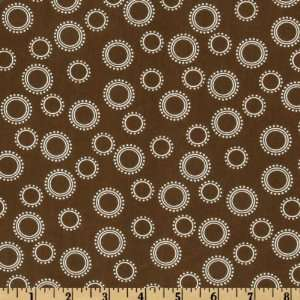 44 Wide Pimatex Basics Circles & Dots Chocolate/White Fabric By The