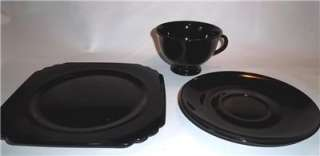 Pc Black Amethyst Glass Dessert Set Cup Saucer Plate