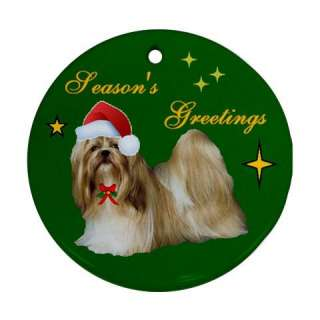 SHIH TZU SHITZU DOG CHRISTMAS XMAS PORCELAIN ORNAMENT