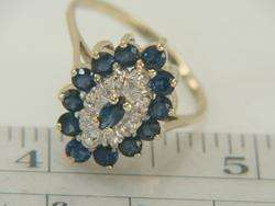 10K Yellow Gold 1.76ct Blue Sapphire & Diamond Ring