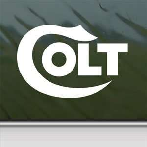 COLT FIREARMS White Sticker Car Laptop Vinyl Window White