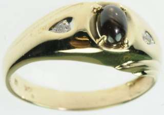 10K SOLID YELLOW GOLD DIAMOND TIGERS EYE GEMSTONE ESTATE RING J189250