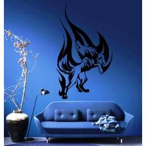 Wolfs Howl in Flames Animal Tribal Design Wall Mural Vinyl Decal