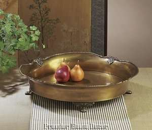 Old World Tuscan Antique Brass Decorative Footed Tray