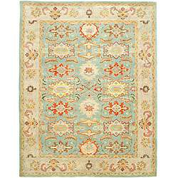 Treasures Light Blue/ Ivory Wool Rug (6 x 9)