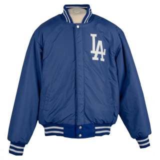 JH Designs Mens Los Angeles Dodgers Reversible Wool Varsity Jacket