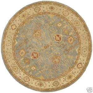 Round Hand tufted Oushak Blue/Ivory Wool Area Rug