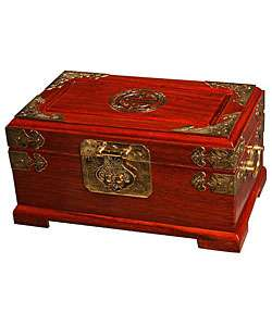 Handmade Asian Brass and Wood Jewelry Box