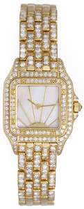 Cartier Ladies Panther 18k Yellow Gold Pave Diamond Watch