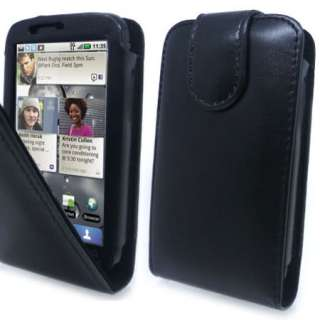 Premium Black Flip Leather Case Cover Motorola Defy +SP