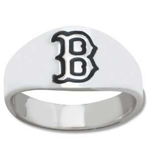 Boston Red Sox Mens Sterling Silver Cigar Band Ring