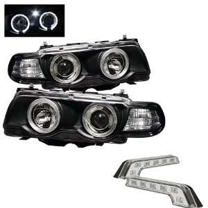 Carpart4u BMW E38 7 Series 1PC Halo Black Projector Headlights and LED