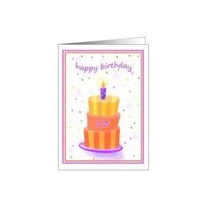 13 Years Old Happy Birthday Stacked Cake Lit Candle Card