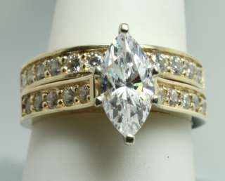 Diamonique 1.5ct Marquise Cubic Zirconia 14K Yellow Gold Engagement