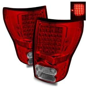 07 09 Toyota Tundra Red/Clear LED Tail Lights Automotive