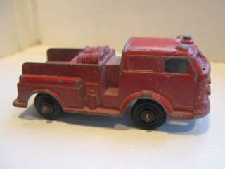 TOOTSIE TOY CHICAGO METAL RED FIRE ENGINE TRUCK PUMPER 2 1/2