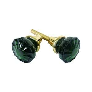 Pair of Forest Green Glass Door Knobs With Unlacquered