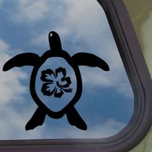 Hibiscus Honu Sea Turtle Black Decal Truck Window Sticker