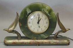Antique Art Deco Onyx Mantle Clock w/ Birds c. 1930s