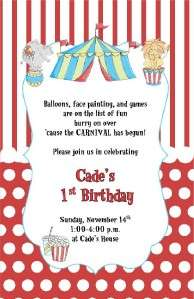 Circus Big Top Birthday Party invitation