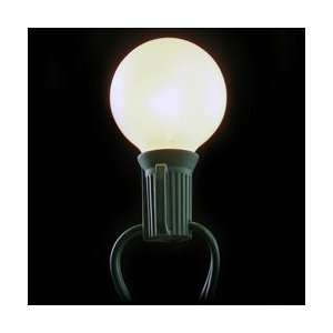25 Pearl White Globe String Lights, Outdoor Plug In, Green