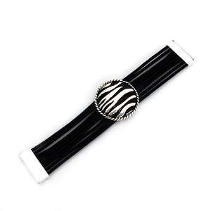 Black Rubber Band with Silver Metal; Magnetic Closure Jewelry