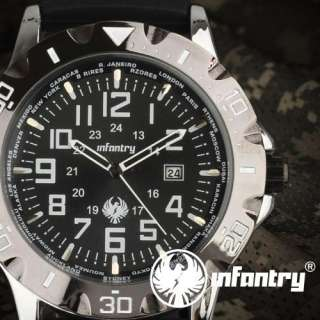 INFANTRY ARMY DATE SPORT MENS WRIST WATCH BLACK RUBBER STRAP OVERSIZE