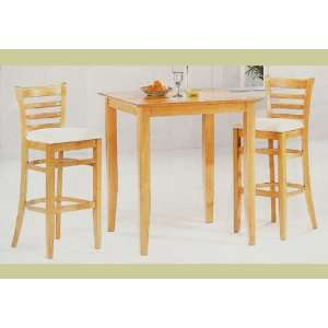 Pc Maple Finish Bar Bistro Pub Table Stool Chair Set