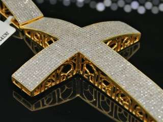 MENS YELLOW GOLD FINISH 6CT DIAMOND CROSS CHARM PENDANT