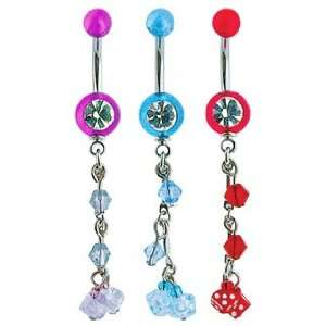 UV 1 Gem Belly Ring w/ Bead & 2 Dice   14G   7/16 Bar Length   Red