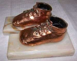 CUTE PAIR COPPER BABY SHOE VINTAGE BOOKENDS ONXY BASES