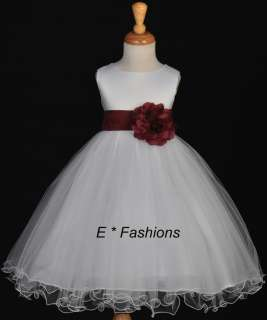 WHITE BURGUNDY RED WINE FLOWER GIRL DRESS 9M 2 4 6 8 10