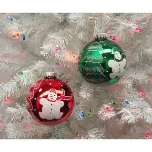 Set Of 2 Red & Green Snowman Glass Ball Christmas